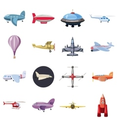 Aviation icons set cartoon style vector image
