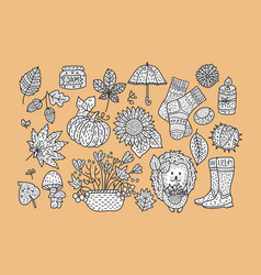 big autumn icon set vector image