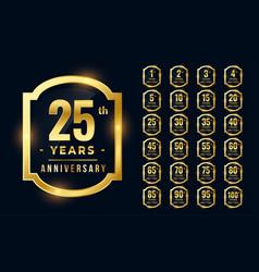Big set premium anniversary logotype in golden vector