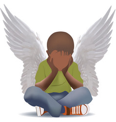 Black child with wings child sitting vector