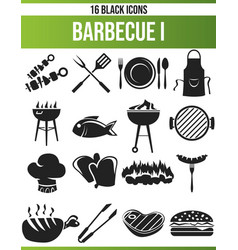 Black icon set barbecue i vector