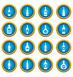 bottle forms icons blue circle set vector image