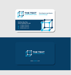Business card template science blue color vector