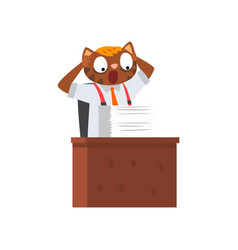 businessman cat having a lot of work funny vector image
