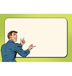 Businessman showing on Billboard background vector image
