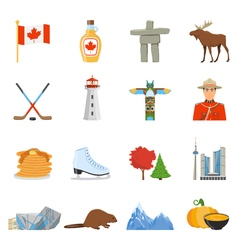 Canada National Symbols Flat Icons Collection vector image