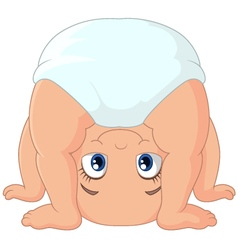 Cartoon baby girl playing upside down vector image