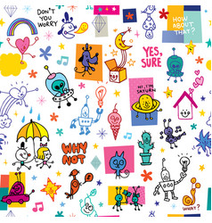 cartoon characters pattern vector image