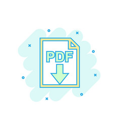 cartoon colored pdf icon in comic style pdf vector image