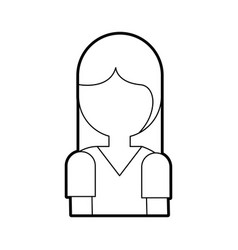 cartoon girl portrait people female character vector image