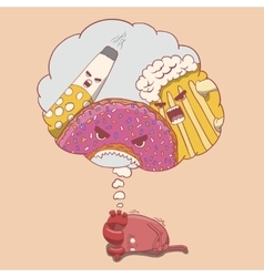 cartoon heart character afraid of alcohol donut vector image