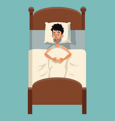 Cartoon tousled man sleep in bed vector