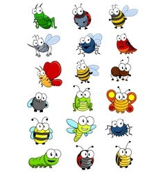 Cartooned insects set vector image