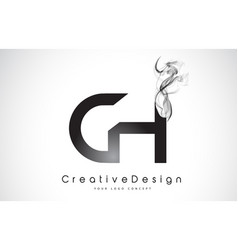 Ch letter logo design with black smoke vector