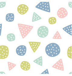 childish seamless pattern with triangles and polka vector image