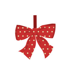 christmas decoration bow isolated on white vector image