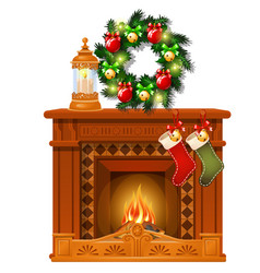 christmas sketch with fireplace and decorations vector image