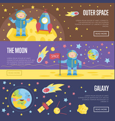 collection space theme cartoon web banners vector image