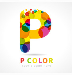 colored p logo concept vector image