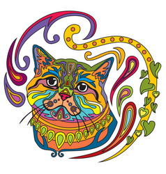 Colorful ornamental cat 7 vector