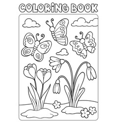 coloring book spring flowers and butterflies vector image