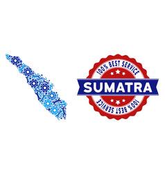 Composition sumatra island map of repair tools vector