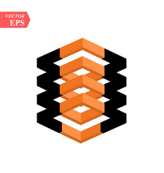 contrast black and orange cube isolated on vector image