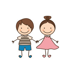 Couple boy and girl cartoons icon vector