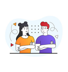 Couple with folded arms vector