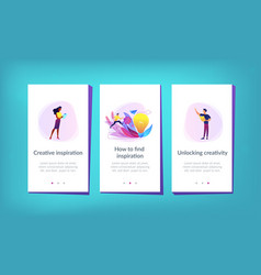 Creative inspiration app interface template vector
