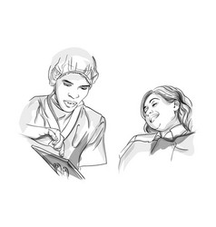 Doctor and patient sketch storyboard detailed vector
