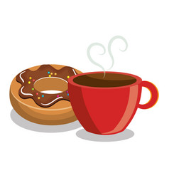 donut coffee sweet dessert isolated vector image