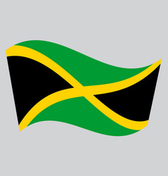 flag of jamaica waving on gray background vector image