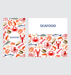 flyers with seafood vector image