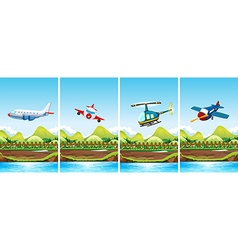 Four scenes of airplanes flying vector
