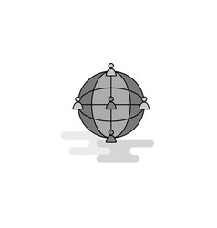 global network web icon flat line filled gray icon vector image