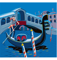 Gondolier in venice vector