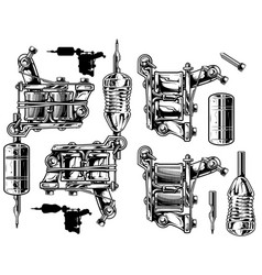 Graphic black and white tattoo machine set vol 1 vector