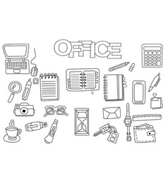 hand drawn office set coloring book template vector image
