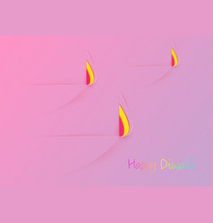 Happy diwali celebration in pink paper cut design vector
