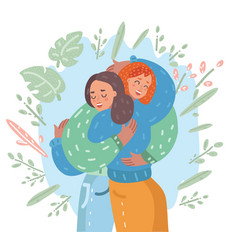 happy meeting of two friends hugging vector image