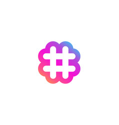 hashtag symbol logo icon design with flower shape vector image
