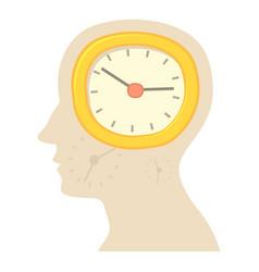 Head with clock icon cartoon style vector