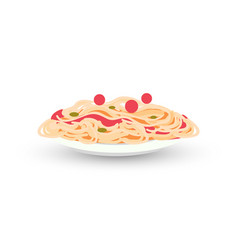 heaped plate of delicious spaghetti carbonara vector image