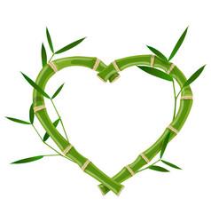 Heart bamboo frame vector