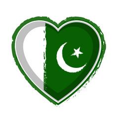 Heart shaped flag of pakistan vector