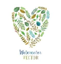 Heart watercolor leaves vector