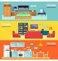 Home interior design for kitchen bed and sitting vector