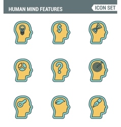 Icons line set premium quality of human mind vector