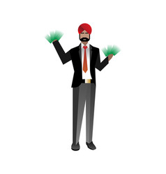Indian bearded businessman with money in hands vector